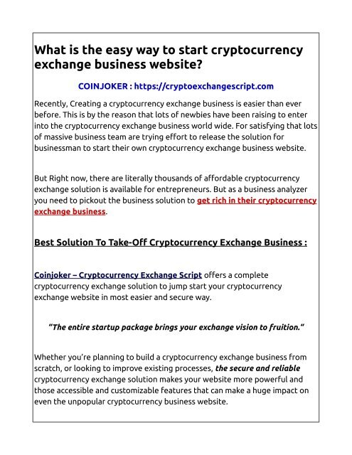 how create cryptocurrency exchange
