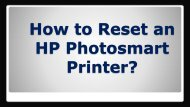 How to Reset an HP Photosmart Printer?