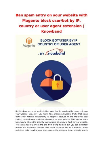 Ban spam entry on your website with Magento block user/bot by IP, country or user agent extension | Knowband