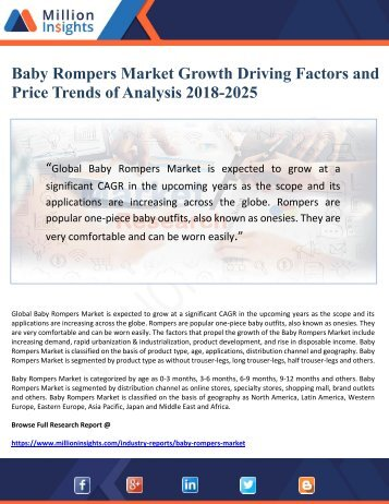 Baby Rompers Market Growth Driving Factors and Price Trends of Analysis 2018-2025