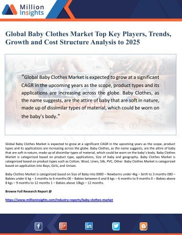 Global Baby Clothes Market Top Key Players, Trends, Growth and Cost Structure Analysis to 2025