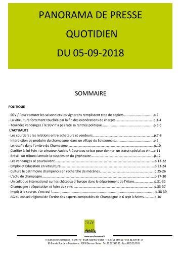 Panorama de presse quotidien du 05-09-2018