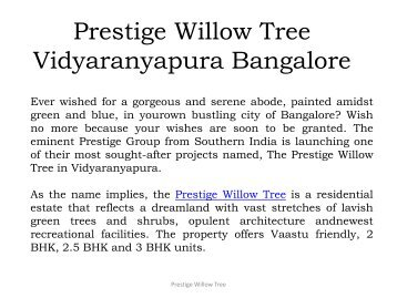 Prestige Willow Tree Vidyaranyapura Bangalore