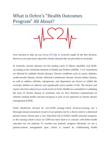 "What is Ochre's ""Health Outcomes Program"" All About?"