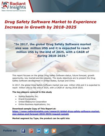 Drug Safety Software Market to Experience Increase in Growth by 2018-2025