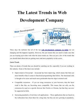 The Latest Trends in Web Development Company