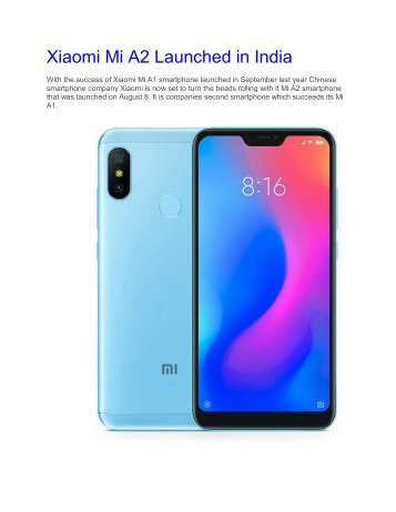 Xiaomi Mi A2 Launched in India