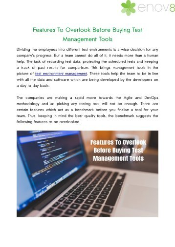 Features To Overlook Before Buying Test Management Tools