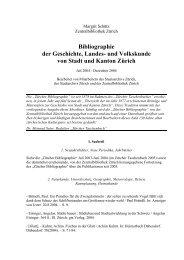 Bibliographie der Geschichte, Landes - Staatsarchiv - Kanton Zürich