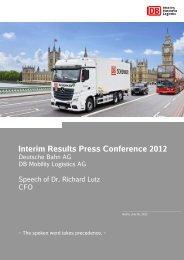 Interim Results Press Conference 2012 - Deutsche Bahn AG