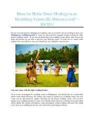 How to Make Your Madagascar Wedding Venue Be Discovered? – WCWV