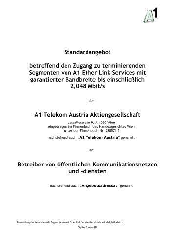 Standardangebot betreffend den Zugang zu terminierenden ... - A1.net
