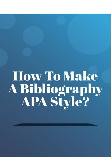 How to make a bibliography apa style