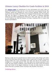 Ultimate Luxury Checklist For Condo Facilities in 2018
