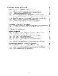 a 1. MINISTERE DE L'ENVIRONNEMENT 1 1.1 - Gouvernement du ...