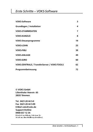 Erste Schritte -- VOKS-Software - voks GmbH