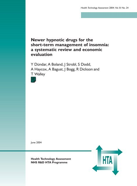 Newer Hypnotic Drugs For The Short Term Management Of Insomnia