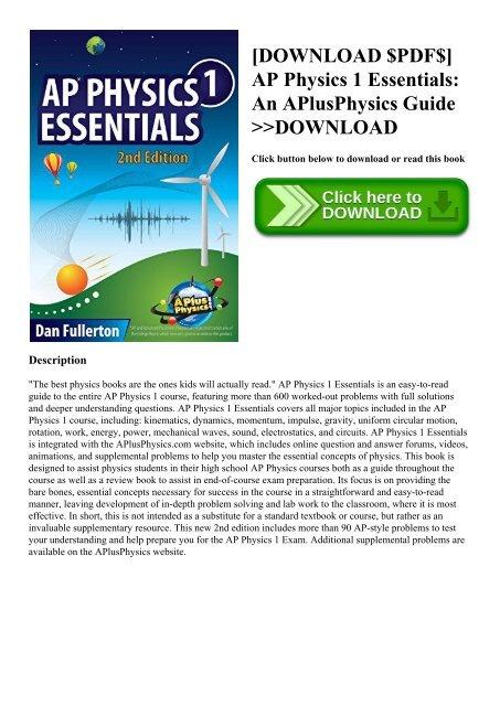 DOWNLOAD $PDF$] AP Physics 1 Essentials An APlusPhysics