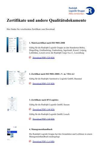 Zertifikate und andere Qualitätsdokumente - Rudolph Logistik Gruppe