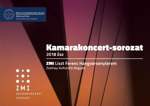 PTE MK ZMI Kamarakoncert-sorozat 2018 ősz