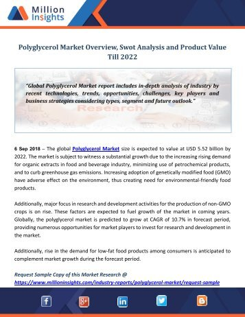 Polyglycerol Market Overview, Swot Analysis and Product Value Till 2022