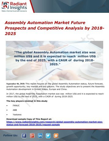 Assembly Automation Market Future Prospects and Competitive Analysis by 2018-2025