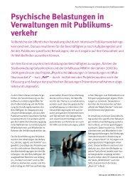 Psychische Belastungen in Verwaltungen mit ... - Unfallkasse NRW