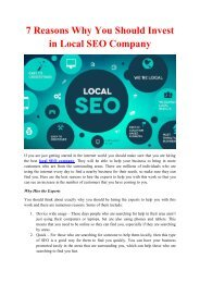 7 Reasons Why You Should Invest in Local SEO Company