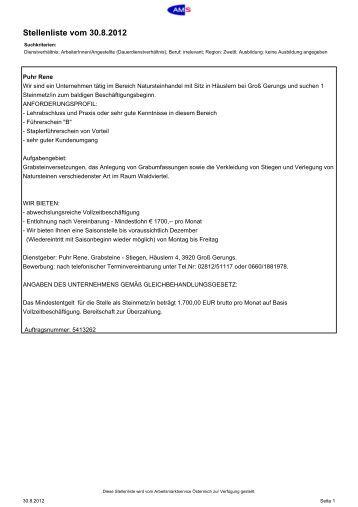 Aktuelle Stellenliste AMS Zwettl