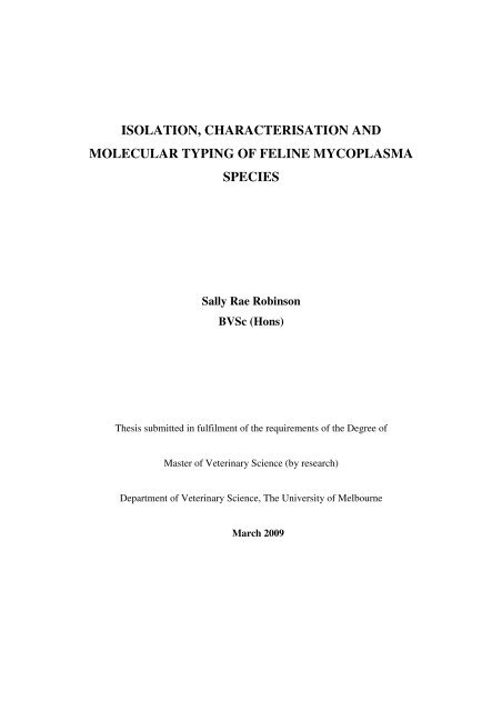 isolation, characterisation and molecular typing of feline ...