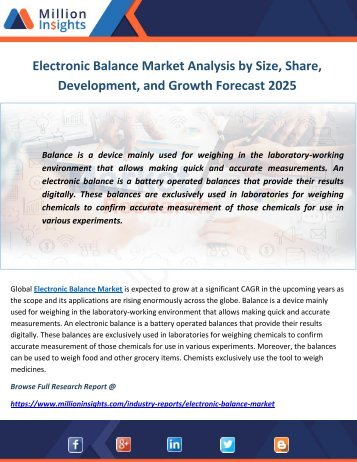Electronic Balance Market Analysis by Size, Share, Development, and Growth Forecast 2025