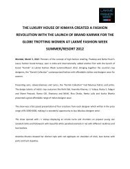 For LFW Summer / Resort 2012 The luxury house - Lakmé Fashion ...