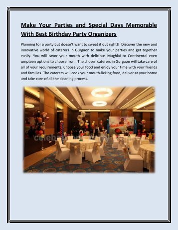 Make Your Parties and Special Days Memorable With Best Birthday Party Organizers