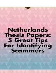 Netherlands Thesis Papers: 5 Great Tips for Identifying Scammers