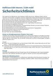Sicherheitsrichtlinien für Raiffeisen ELBA-internet