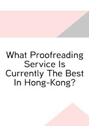 What Proofreading Service Is Currently the Best in Hong-Kong