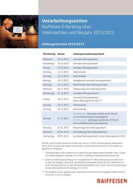 Verarbeitungszeiten Raiffeisen E-Banking über Weihnachten und ...