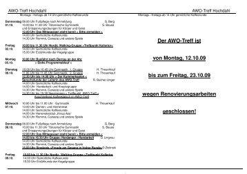 Treff Hochdahl Bürgerhaus Monatsprogramm Oktober 2009