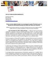 PAS SU PUBLICACIÓN INMEDIATA Contacto de prensa ... - Barix