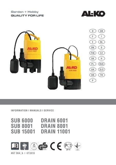 AL-KO Schmutzwasser Tauchpumpe DRAIN 12000 Comfort 850W 12000 l//h