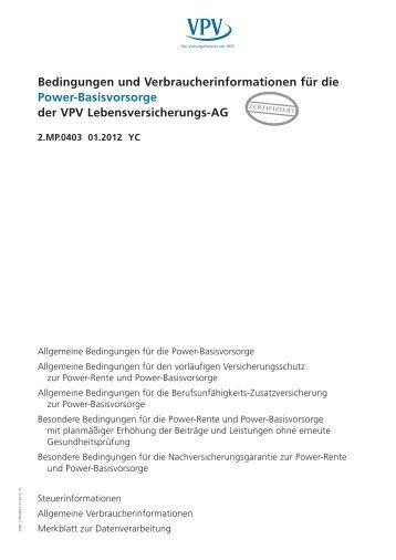 Bedingungen und Verbraucherinformationen für die Power ...