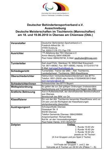Deutscher Behindertensportverband eV Ausschreibung Deutsche ...