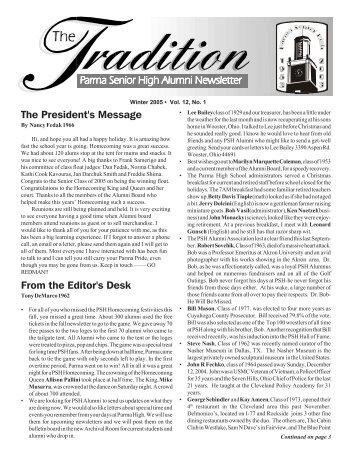 Jan 2005 Issue - Parma Senior High School Alumni Association