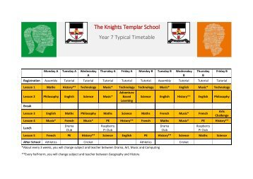 Typical Year 7 Timetable