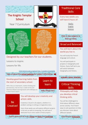 KTS Year 7 Curriculum Information 2019-18