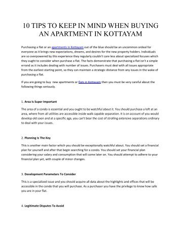 10 Tips To Keep In Mind When Buying An Apartment In KOTTAYAM