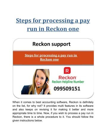 Processing a pay run in Reckon one