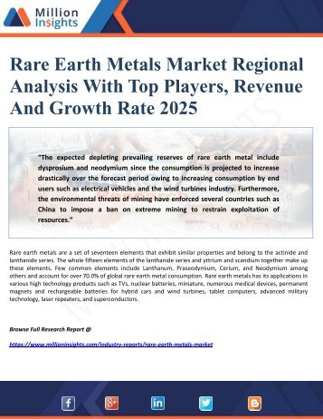Rare Earth Metals Market Regional Analysis With Top Players, Revenue And Growth Rate 2025