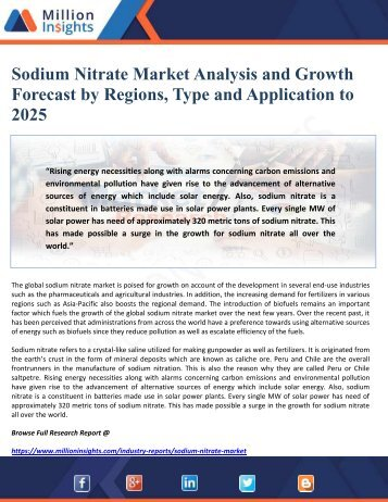 Sodium Nitrate Market Analysis and Growth Forecast by Regions, Type and Application to 2025