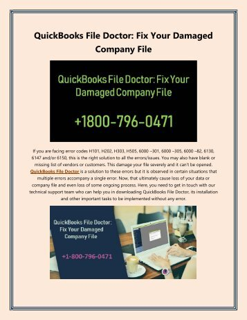 QuickBooks File Doctor: Fix Your Damaged Company File